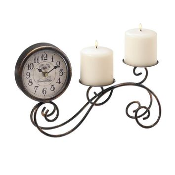 SCROLL WORK TABLE CLOCK & CANDLE HOLDER WROUGHT IRON WEDDING DECOR CENTERPIECE