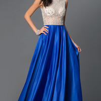 Satin Illusion Bodice Floor Length Prom Dress