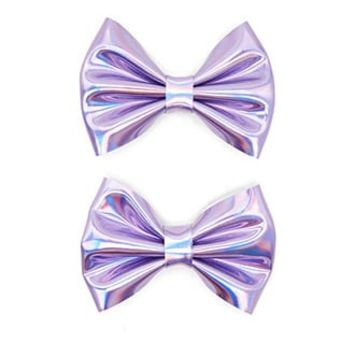 Holographic Bow Hair Clip Set