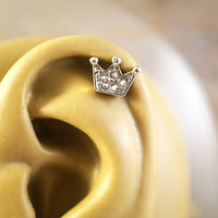 Sparkly Princess Crown Cartliage Earring Tragus Conch Helix Piercing