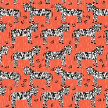 Little Woolf Fitted Crib Sheet in Coral Zebra, Animal,Safari, Black+White Nursery, Gender Neutral, Modern Bedding, Organic Fitted Crib Sheet