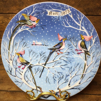 Haviland 4 Coly Birds Plate #4 in 12 Days of Christmas 1973 France