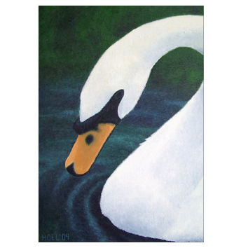 Grace - Folded Greeting Cards of Swan Animal Totem Bird Symbol Acrylic Paint Fine Art