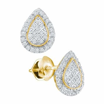 10kt Yellow Gold Women's Round Diamond Teardrop Cluster Screwback Earrings 1-5 Cttw - FREE Shipping (USA/CAN)