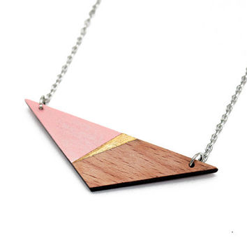 Geometric triangle wooden necklace - pale pink, gold, natural wood - minimalist, modern jewelry