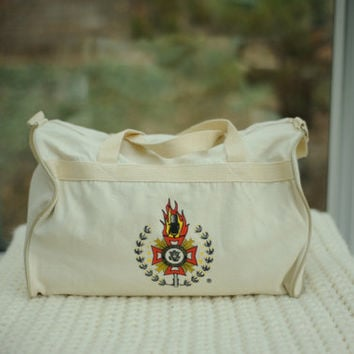 Vintage White Canvas Duffle Bag