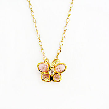 Gold Butterfly Necklace Pink Butterfly Necklace Swarovski Butterfly Vintage Butterfly Gold Filled Chain Spring Bridesmaid Jewelry - Madame