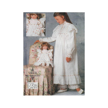 "Vogue 9559 Designer Linda Carr Girl and Doll Nightgown and Bloomers Sz S 7-L 12-14 Chest 26- 32""/66- 81cm Sewing Pattern UNCUT"