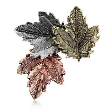 1pc Broche Mujer Vintage Pin Maple Leaf Brooch Brooches Pins Exquisite Collar For Women Dance Party Accessories