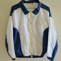 White Blue Yellow Windbreaker Jacket Vintage 90s Oversized XL
