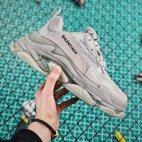 Balenciaga Triple S Clear Sole Trainers Sneakers Grey With Air Bubble - Best Online Sale