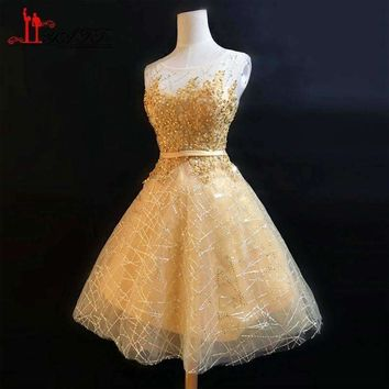 Gold Lace Appliques Short Dresses De Knee-Length Dress Sequined Dress