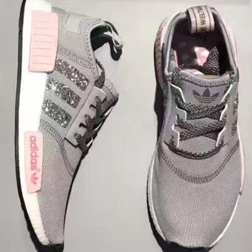 Adidas NMD Fashion Women Sequins Personality Running Sports Shoes Sneakers Grey Pink I