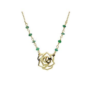 """25% Reduced - Silver Gold Plated Rose Pendant Jade Beads 16""""+ 2""""Necklace"""
