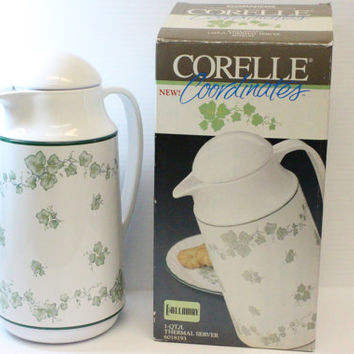 Corelle Coordinates Thermal Server, GREEN IVY pattern, vintage corelle, vintage thermos, etro home decor,vintage serving item,coffee and tea