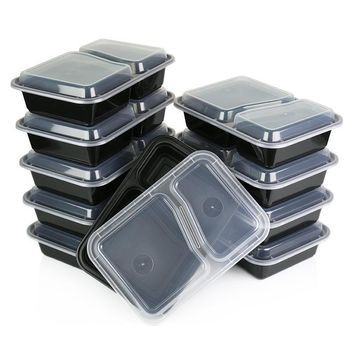 Honana CF-AT054 10 Set 2-Compartment Disposable Lunch Box  Microwave Safe Food Container Lunch Tray
