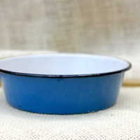 Blue and white Enamel dish // Vintage enamel dish