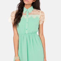 Sugar on Top Mint Green Lace Dress
