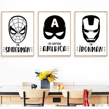 Cartoon Super Hero The Avengers canvas Painting Decor Wall Pictures Art Posters and Prints Canvas Painting for pub bar cafe