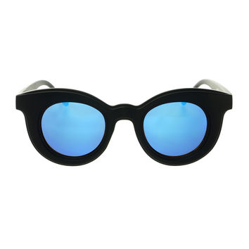 Cool Mirror Lens Designer Fashion Womens Round Sunglasses Matte Black R2750