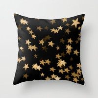 Gold Stars Pillow Cover, Home Decor, Bedroom, Living Room, Throw Pillow, Dorm