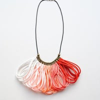 Ombre Red White Coral Peach Salmon Satin Cord, Rope Jewelry, Statement Necklace, Bib, Elegant, Silk, Rattail, Autumn Trends