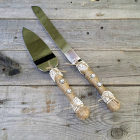 Rustic Wedding Cake and Knife Serving Set, Cake Server Set, Wedding Cake Server, Wedding Cake Cutting Set, Cake Server and Knife