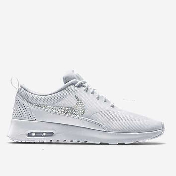 Women's Air Max Thea All White Blinged Nikes, Bling Running Training Shoes Customized With Swarovski Crystal Rhinestones Nike Bling Gift