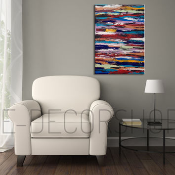 Large Wall Art Canvas Painting Knife Technique Painting on Canvas, Abstract Acrylic Mixed Color, Hand Made, Ready Hang,  Size 70x50 cm