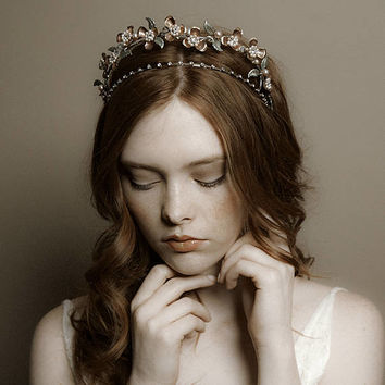 Double wedding tiara, bridal hair crown - Alexandra no. 2218