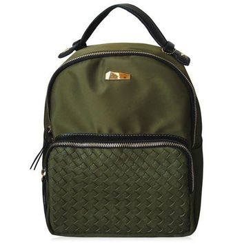 Casual Women's Backpack With Woven and Nylon Design   Army Green