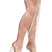 High Heel Lace Up Thigh High PVC Boots ELLA-6