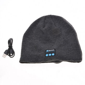 New Fashion Soft Warm Knitted Hat Wireless Bluetooth Headset Headphone High-tech Smart Cap