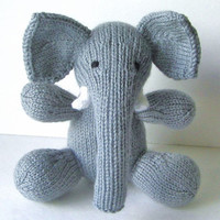 Hand Knit Stuffed Elephant, Ready To Ship, Jungle Nursery Plush Doll, Christmas Gift Boy Girl, Newborn Baby Shower Gift, Kids Toy 8 1/2""