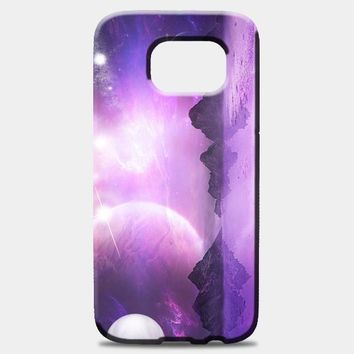 Sky Moon Mountains Space Samsung Galaxy S7 Edge Case