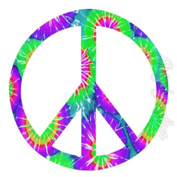 Peace Sign Tie Dye  Wall Art Peel and Stick Removable Wall Decals Love PC2
