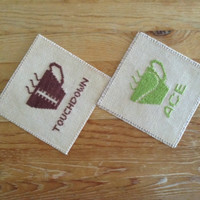 Sports coasters Drink coasters Tennis coaster Football coaster Cross stitch coasters Finished cross stitch Fabric coasters Square coasters
