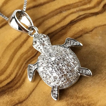 White Sapphire Pave Turtle Charm Sterling Silver Pendant Necklace