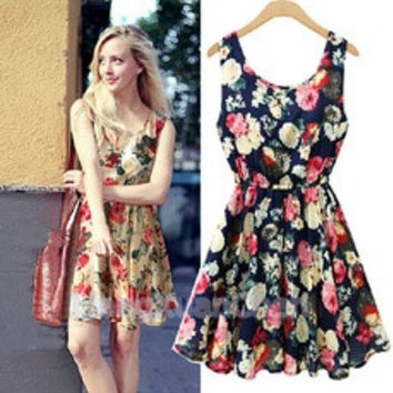 Fashion Women New Exquisite Sleeveless Round Neck Florals Print Pleated Dress Saias Femininas Summer Clothing [7940020423]