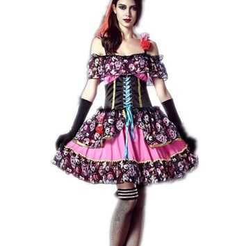 Adult Women Day of  the dead Costume Skull Print Mexico Halloween Bride Carnival Costume Fancy Dress