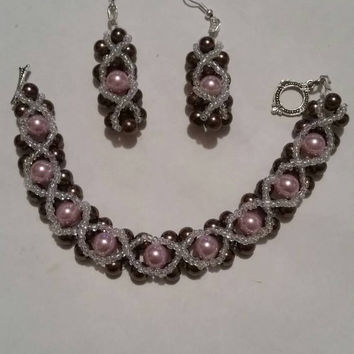 Gorgeous Copper, Pink and White XOXO Bracelet and Earring Set.