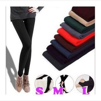 2017 Elastic Fleece  winter fashion leggings charcoal brushed nap thick monolayer step foot nine women leggings free shipping