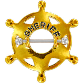 Yellow SHERIFF BADGE Nipple Shield | Body Candy Body Jewelry