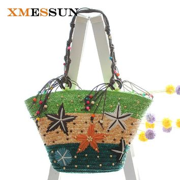 Bohemian Beach Bag Handmade Embroidery Starfish Straw Bag Woven Tote Women Travel Handbag Luxury Designer Shopping Hand Bags C68