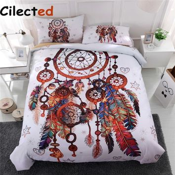 Cool Cilected Dream Catcher Bedding Set Queen King Size Bohemian Feather Print Duvet Cover Set 3pcs With Pillowcase Bed Cover SetAT_93_12