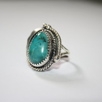 Native Inspired Sterling Silver with Oval Turquoise Stone Ring Vintage Sterling Silver Ring Size  7.5 - free ship US