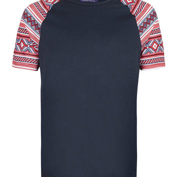 NAVY TRBAL SLEEVE T-SHIRT - T-shirts & Vests - New In - TOPMAN