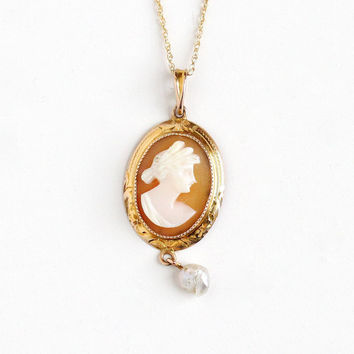 Antique 10k Rosy Yellow Gold Carved Shell Cameo Pearl Lavalier Pendant Necklace - Vintage Edwardian 1900s Fine Female Silhouette Jewelry