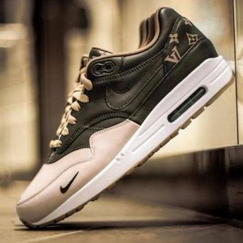 Tagre™ ONETOW Best Online Sale LV x Supreme Nike Air Max 1 Custom Gold Brown Men Women Fashion Shoes Sneaker Casual Shoes