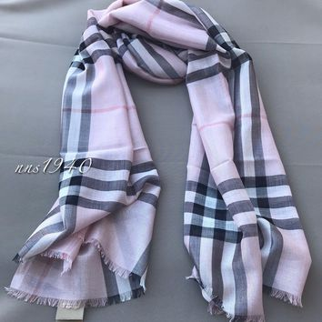 Burberry Check Scarf Lightweight Wool / Silk / Ash Rose / Silver NWT!